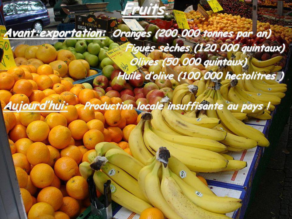 Fruits. Avant:exportation: Oranges (200.000 tonnes par an)