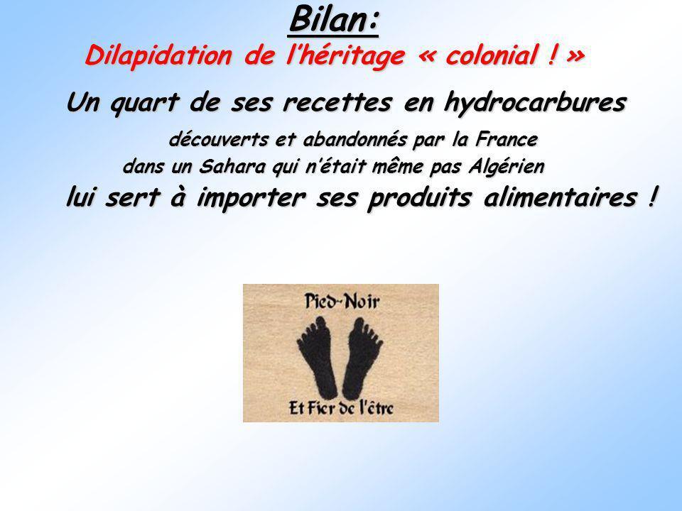 Bilan: Dilapidation de l'héritage « colonial ! »