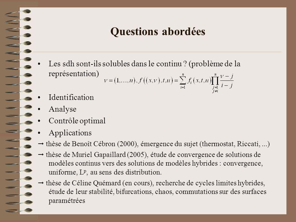 Questions abordées Les sdh sont-ils solubles dans le continu (problème de la représentation) Identification.