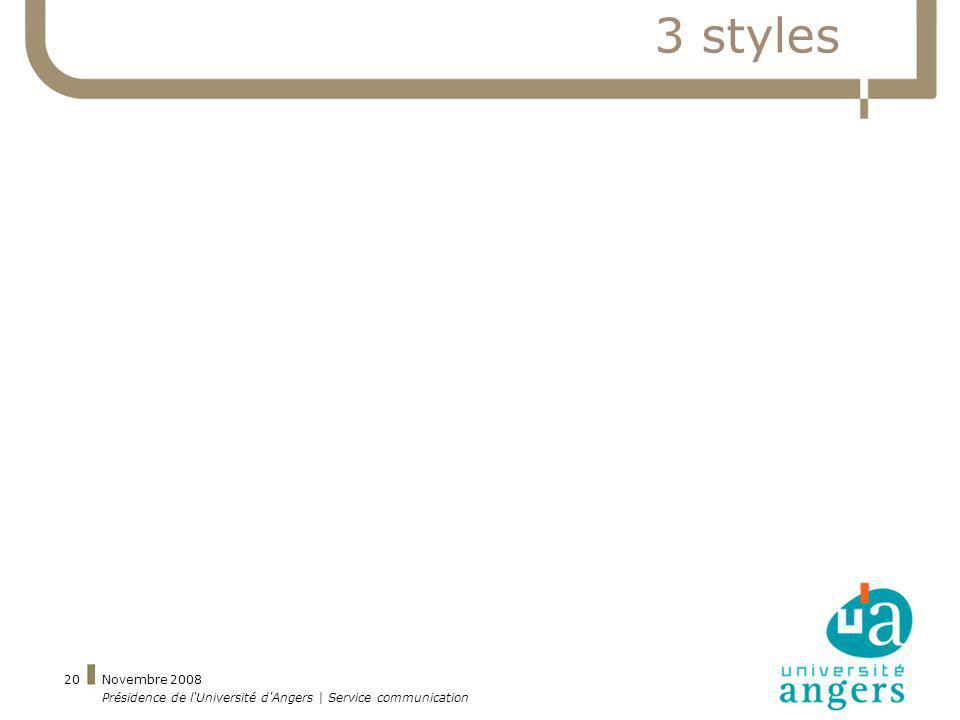 3 styles Novembre 2008 Présidence de l Université d Angers | Service communication