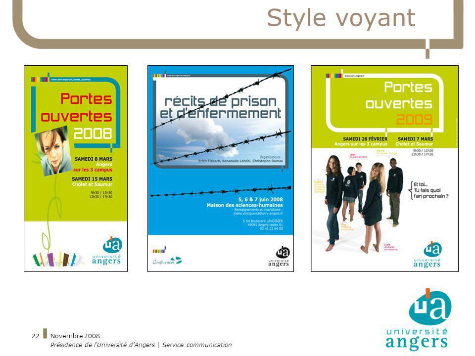 Style voyant Novembre 2008 Présidence de l Université d Angers | Service communication