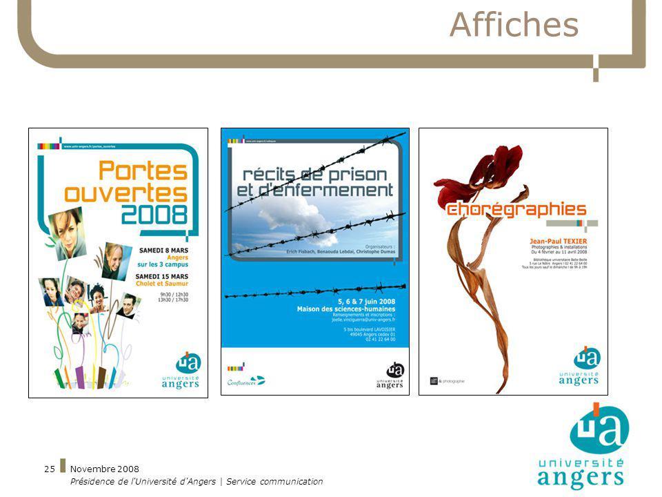 Affiches Novembre 2008 Présidence de l Université d Angers | Service communication