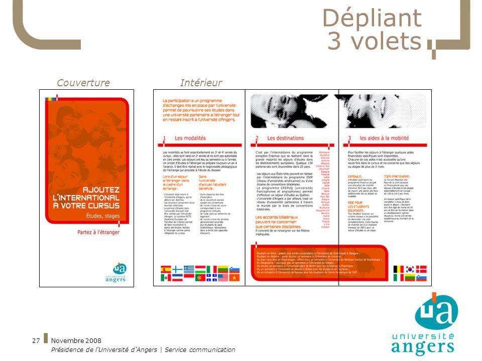 Dépliant 3 volets Couverture Intérieur Novembre 2008