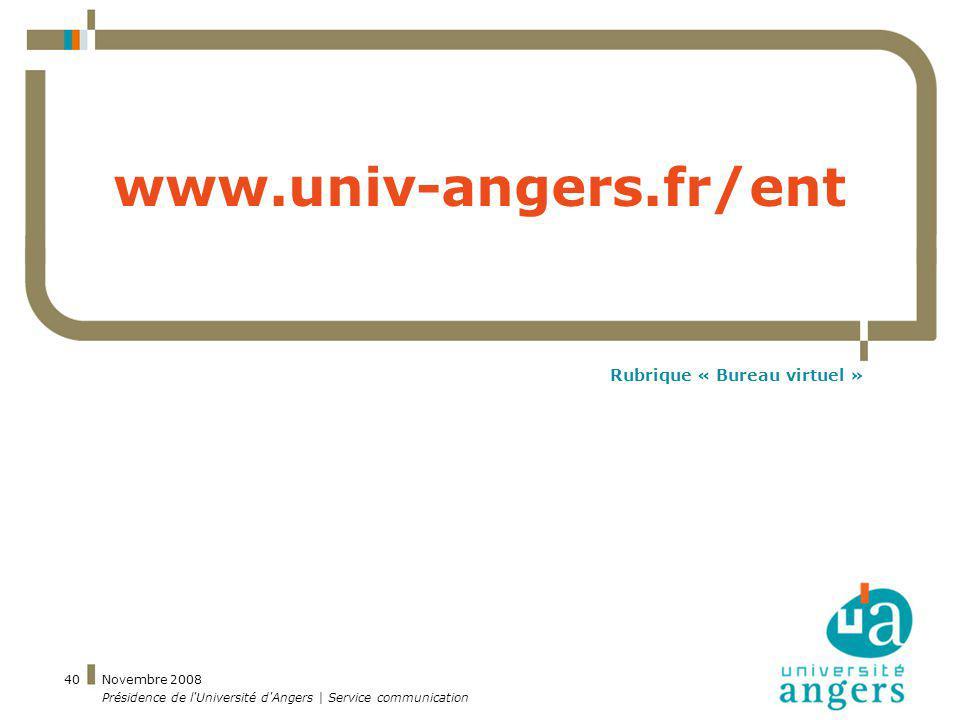 Rubrique « Bureau virtuel »