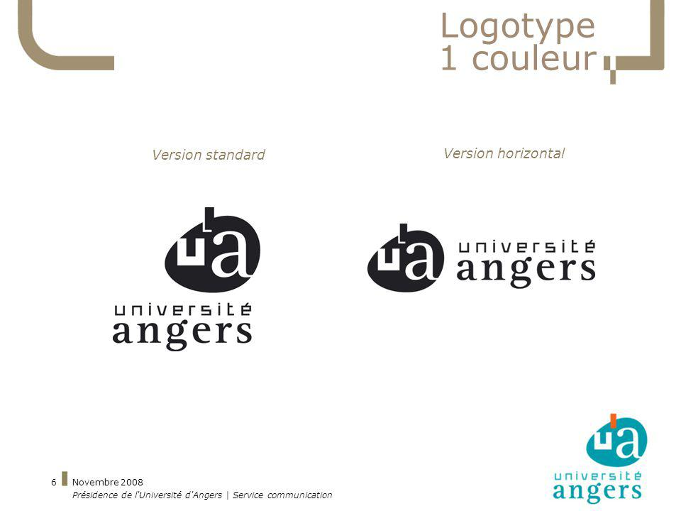 Logotype 1 couleur Version standard Version horizontal Novembre 2008