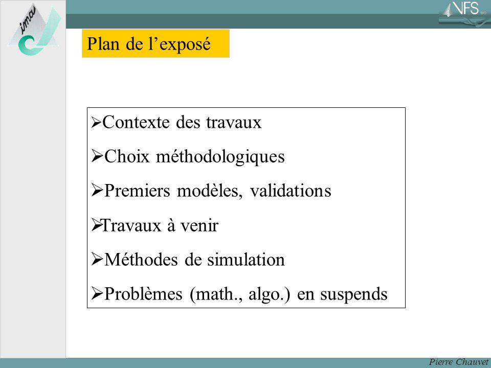 Choix méthodologiques Premiers modèles, validations Travaux à venir