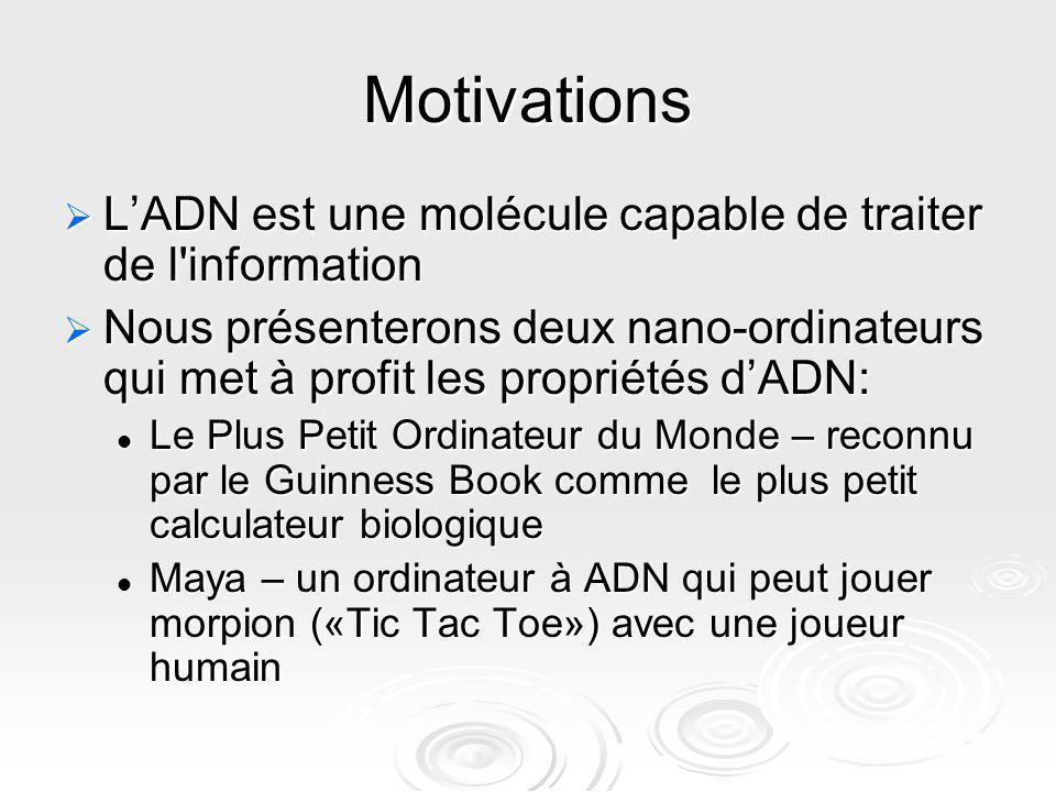 Motivations L'ADN est une molécule capable de traiter de l information