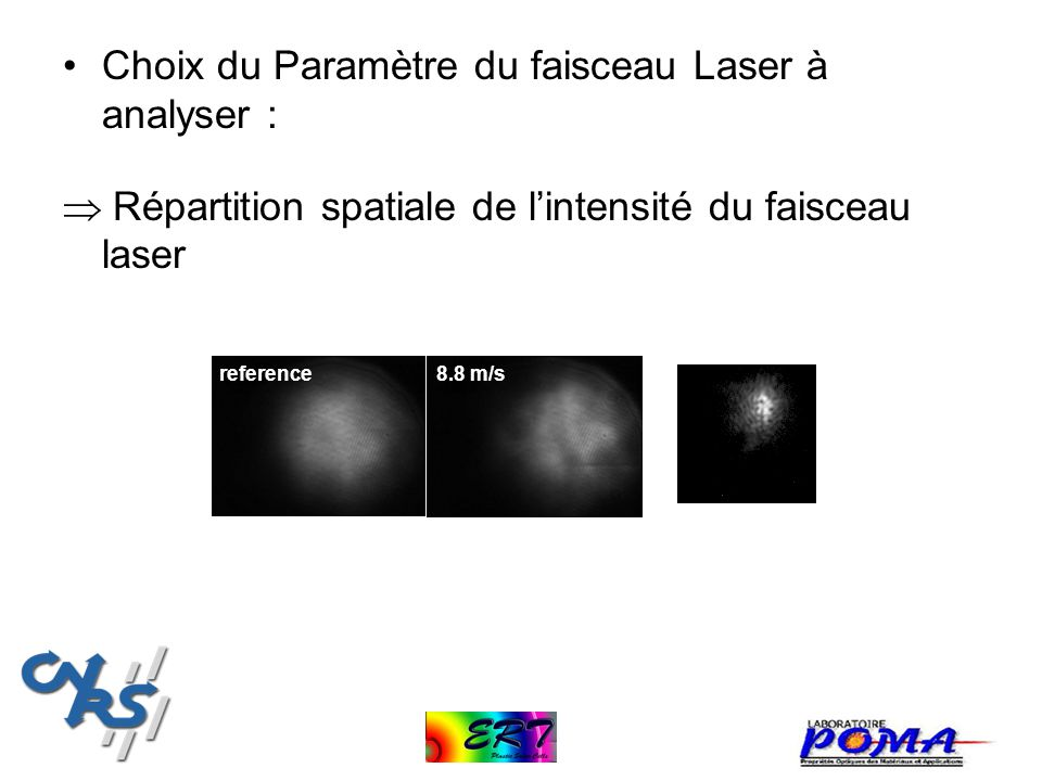 Choix du Paramètre du faisceau Laser à analyser :