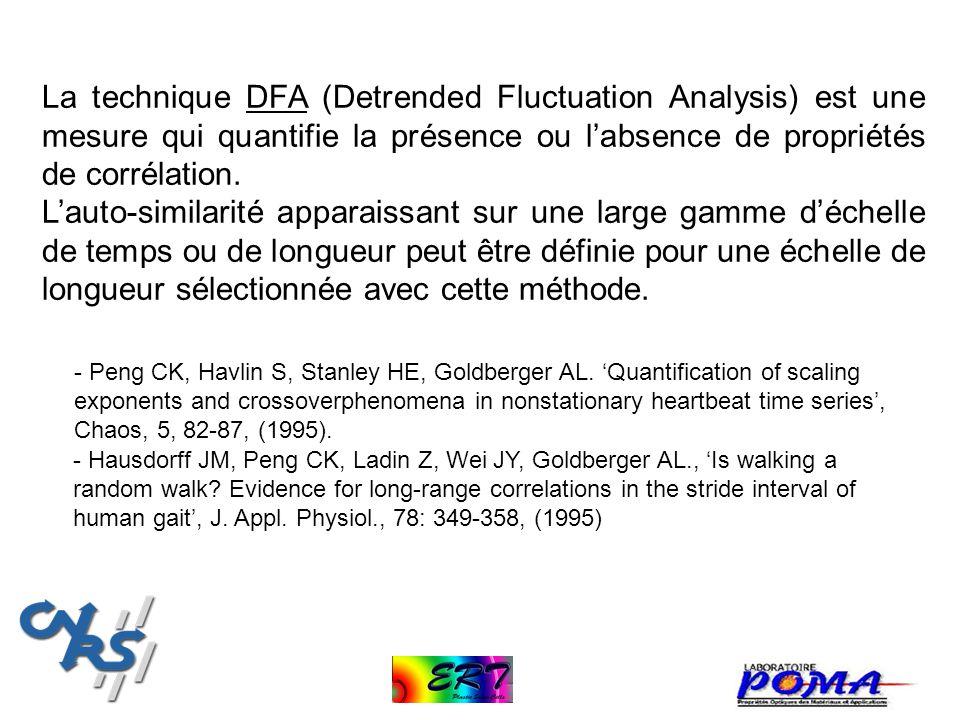 La technique DFA (Detrended Fluctuation Analysis) est une mesure qui quantifie la présence ou l'absence de propriétés de corrélation.