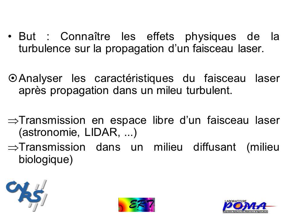But : Connaître les effets physiques de la turbulence sur la propagation d'un faisceau laser.