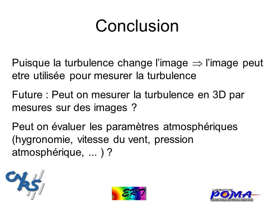 Conclusion Puisque la turbulence change l'image  l'image peut etre utilisée pour mesurer la turbulence.