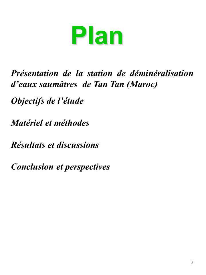 Plan Présentation de la station de déminéralisation d'eaux saumâtres de Tan Tan (Maroc) Objectifs de l'étude.