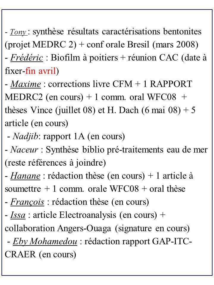 Tony : synthèse résultats caractérisations bentonites (projet MEDRC 2) + conf orale Bresil (mars 2008) - Frédéric : Biofilm à poitiers + réunion CAC (date à fixer-fin avril) - Maxime : corrections livre CFM + 1 RAPPORT MEDRC2 (en cours) + 1 comm.