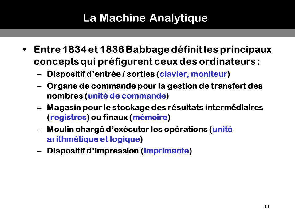 La Machine Analytique Entre 1834 et 1836 Babbage définit les principaux concepts qui préfigurent ceux des ordinateurs :