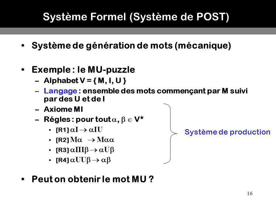 Système Formel (Système de POST)