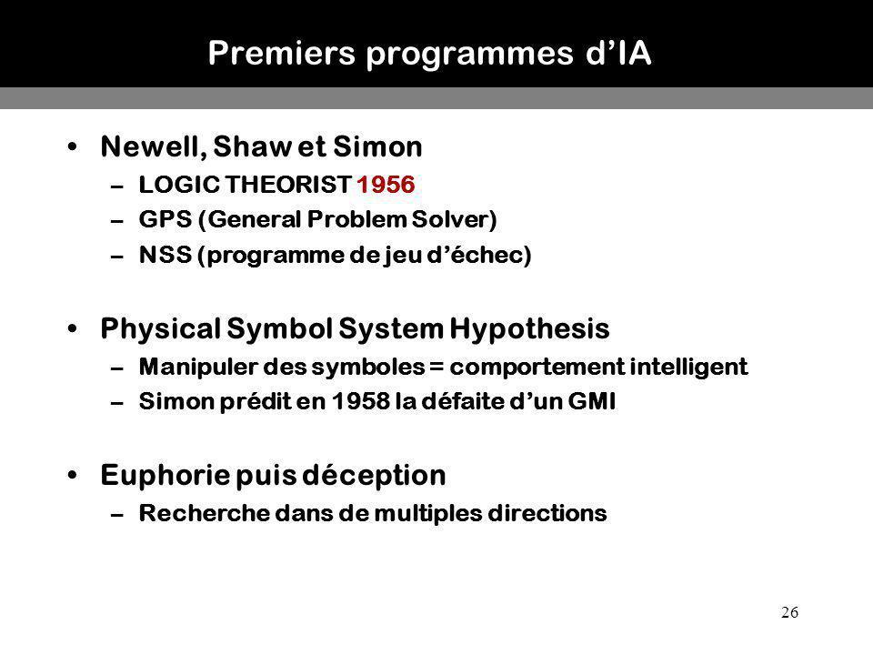 Premiers programmes d'IA