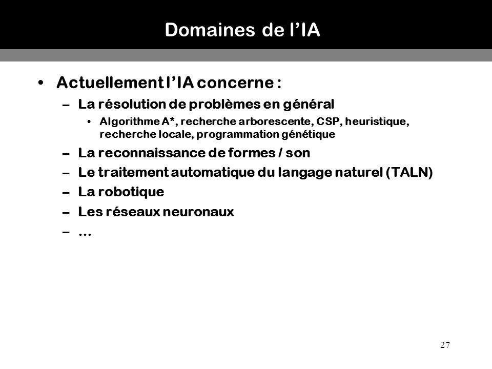 Domaines de l'IA Actuellement l'IA concerne :