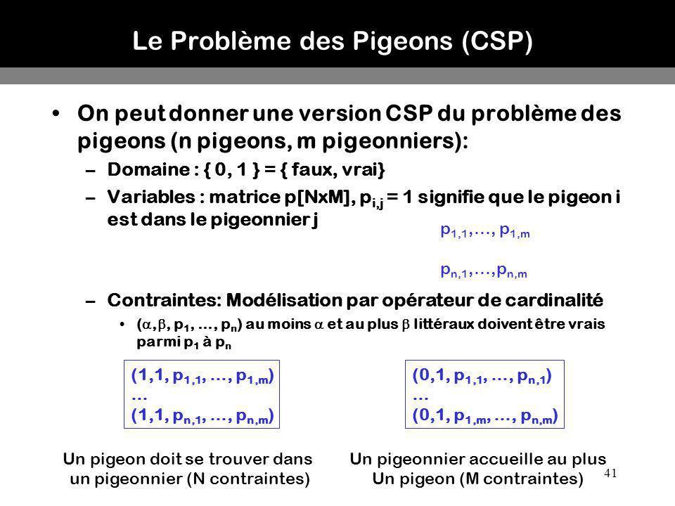 Le Problème des Pigeons (CSP)