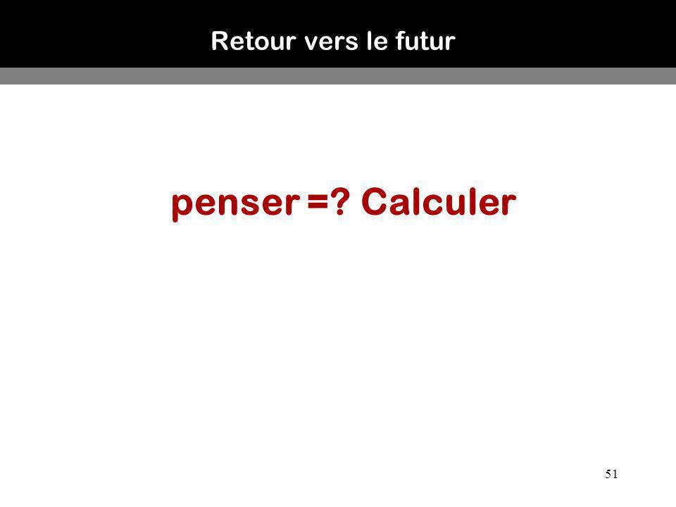Retour vers le futur penser = Calculer