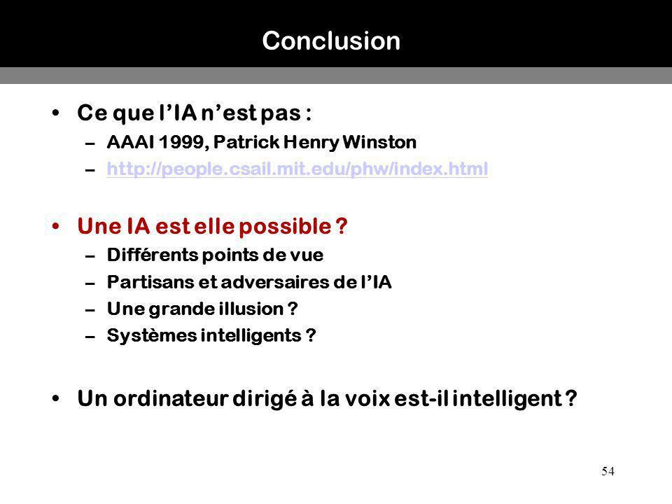 Conclusion Ce que l'IA n'est pas : Une IA est elle possible