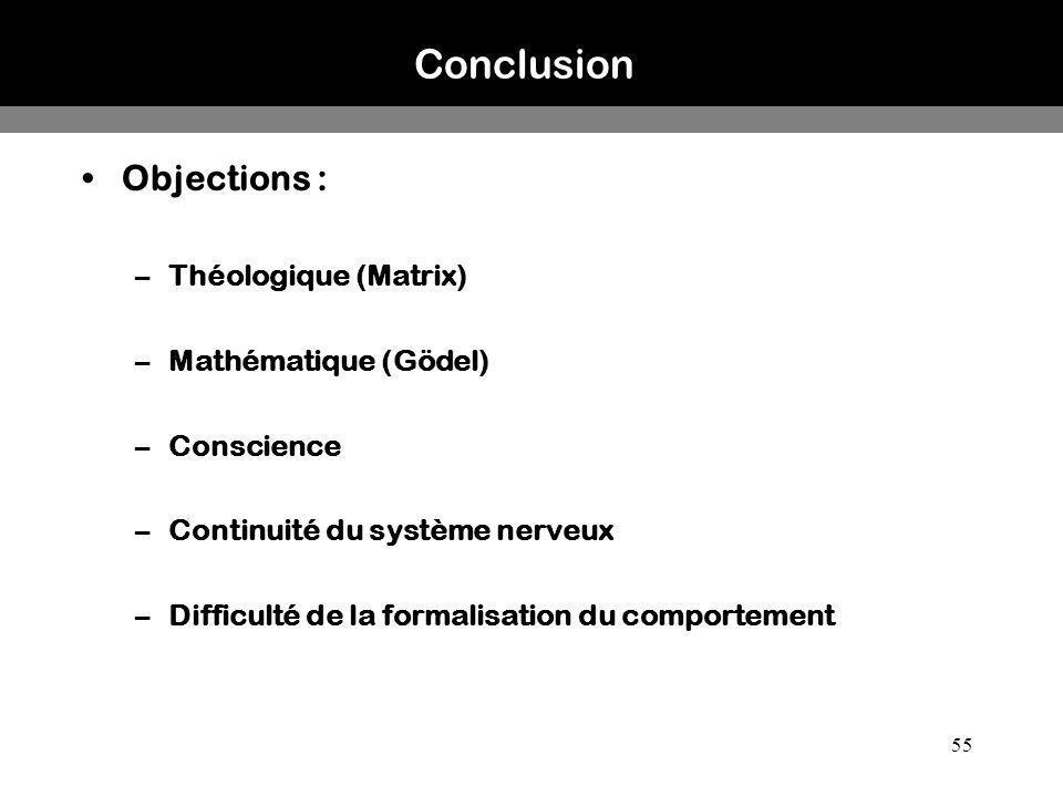 Conclusion Objections : Théologique (Matrix) Mathématique (Gödel)