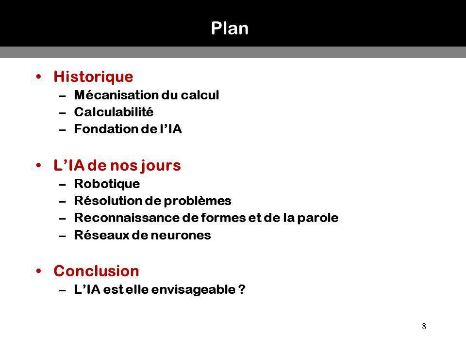 Plan Historique L'IA de nos jours Conclusion Mécanisation du calcul