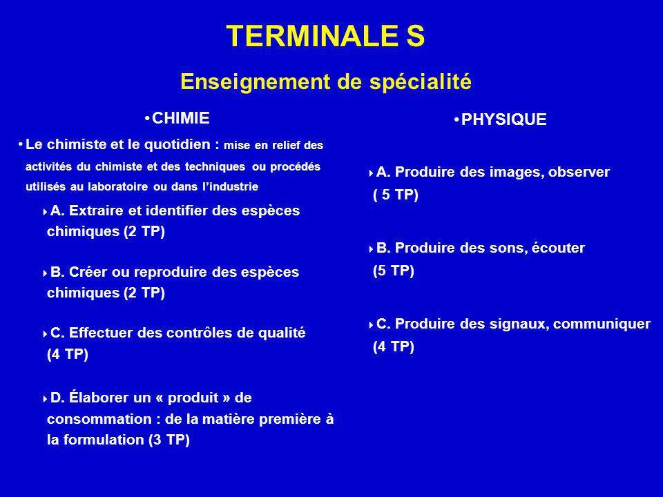 TERMINALE S Enseignement de spécialité