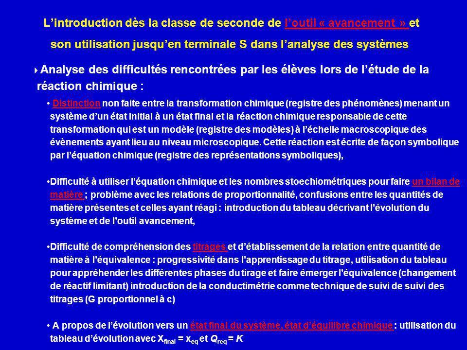 L'introduction dès la classe de seconde de l'outil « avancement » et son utilisation jusqu'en terminale S dans l'analyse des systèmes