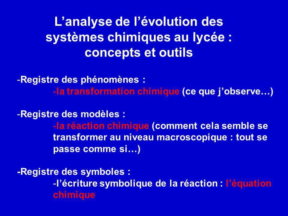L'analyse de l'évolution des systèmes chimiques au lycée : concepts et outils