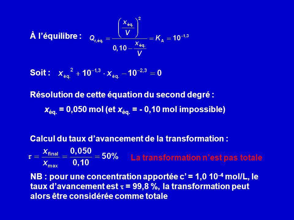 xéq. = 0,050 mol (et xéq. = - 0,10 mol impossible)