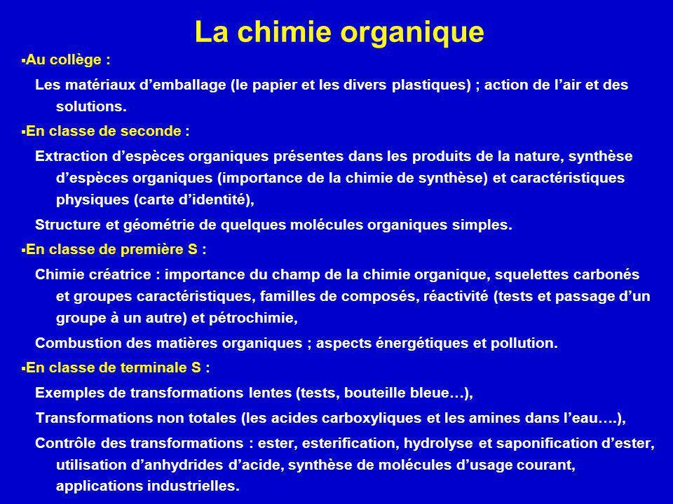 La chimie organique Au collège :