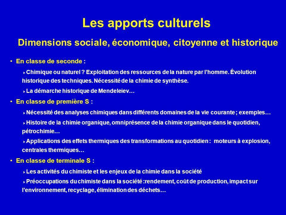 Les apports culturels Dimensions sociale, économique, citoyenne et historique