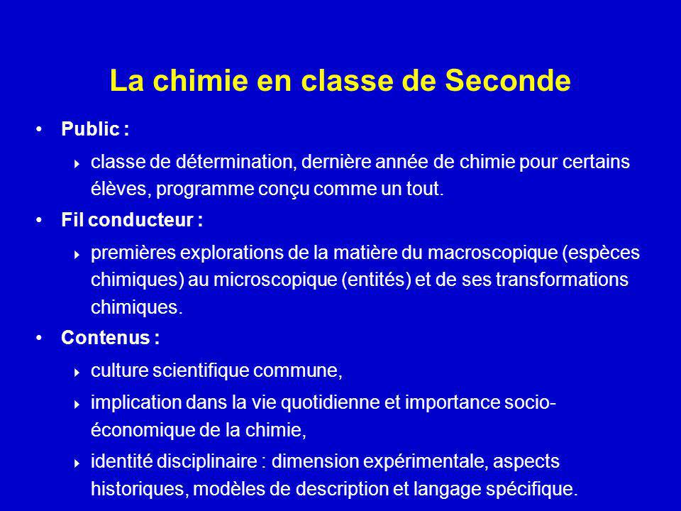 La chimie en classe de Seconde