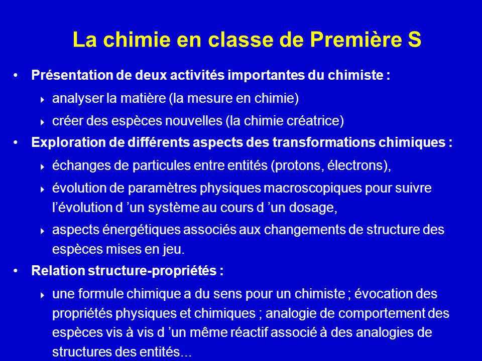 La chimie en classe de Première S