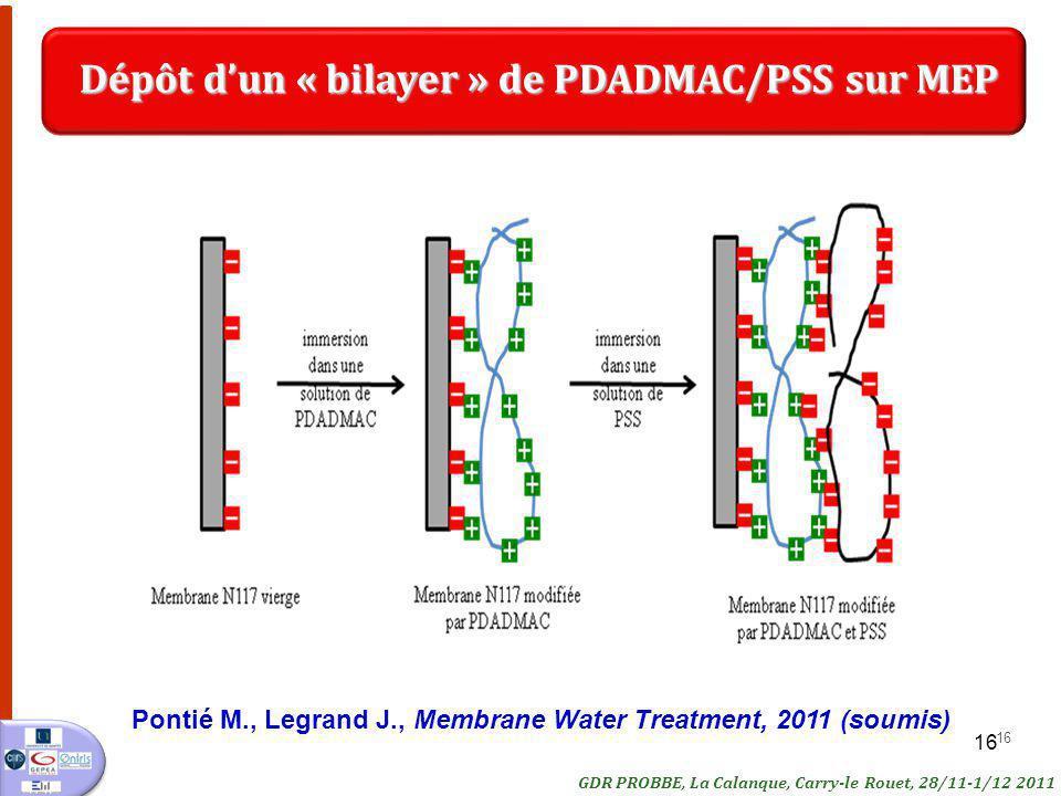 Dépôt d'un « bilayer » de PDADMAC/PSS sur MEP