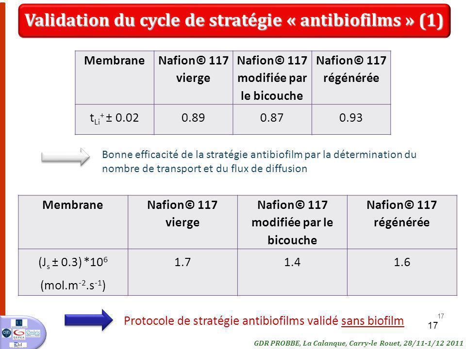 Validation du cycle de stratégie « antibiofilms » (1)