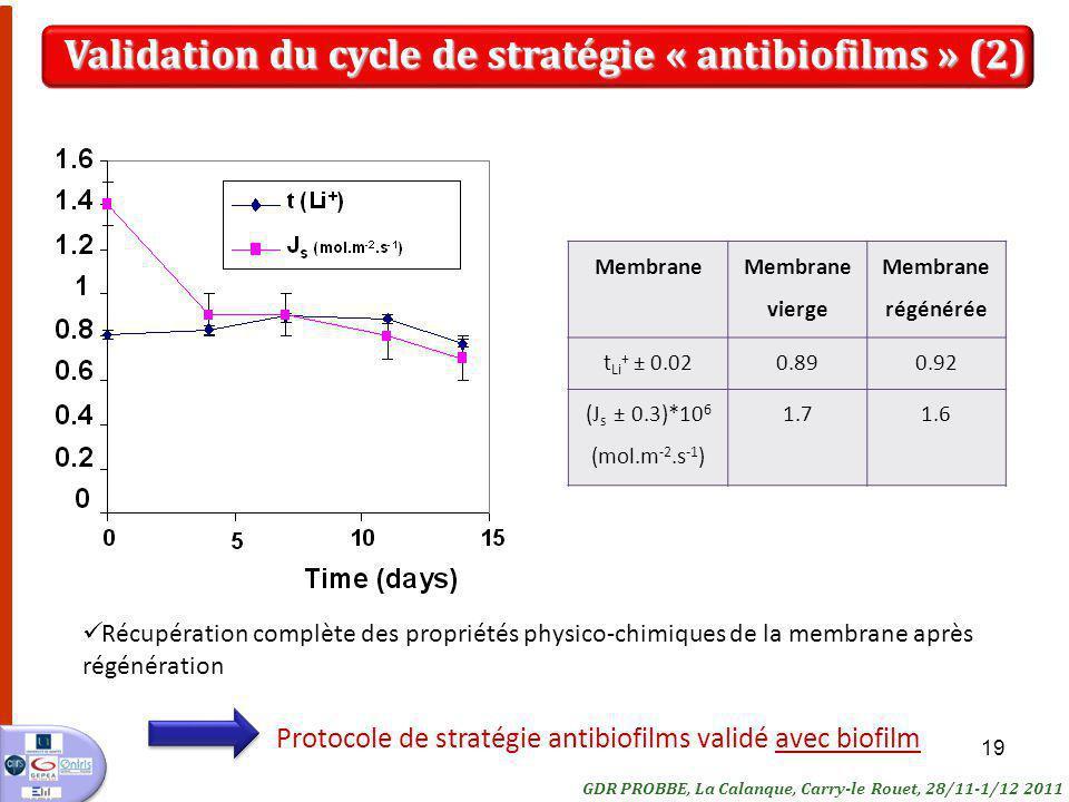 Validation du cycle de stratégie « antibiofilms » (2)