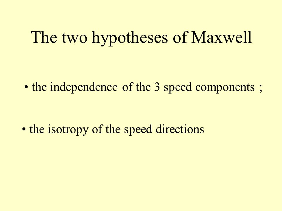 The two hypotheses of Maxwell