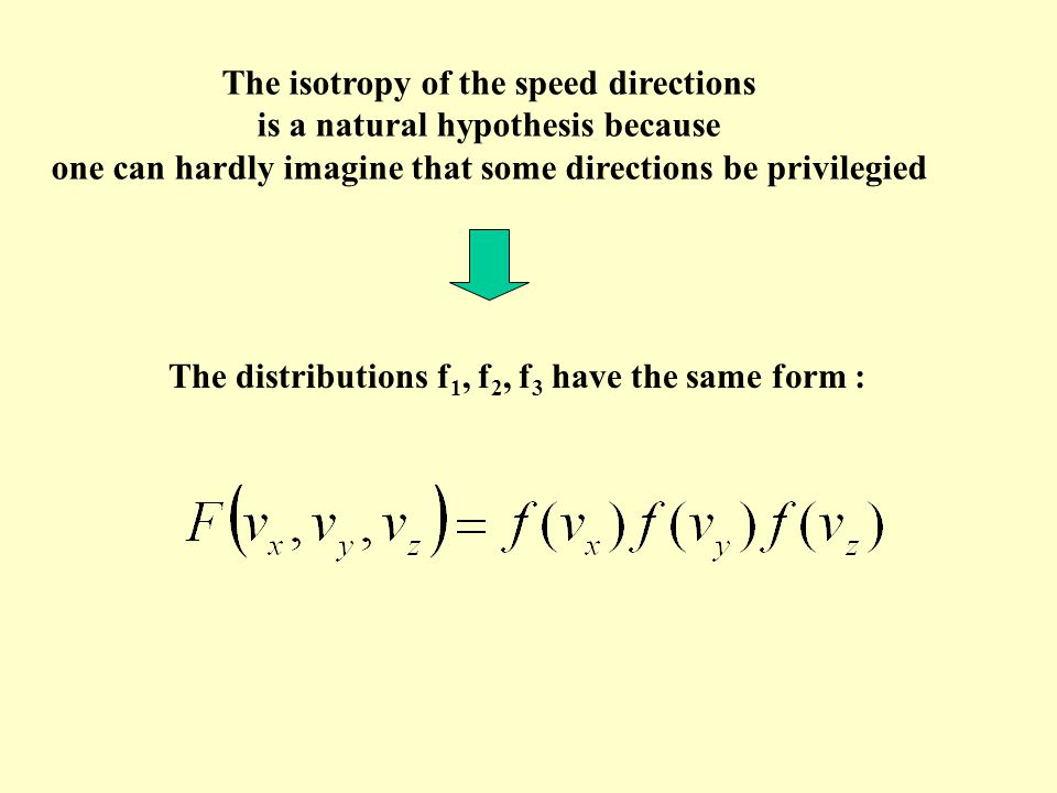 The isotropy of the speed directions is a natural hypothesis because