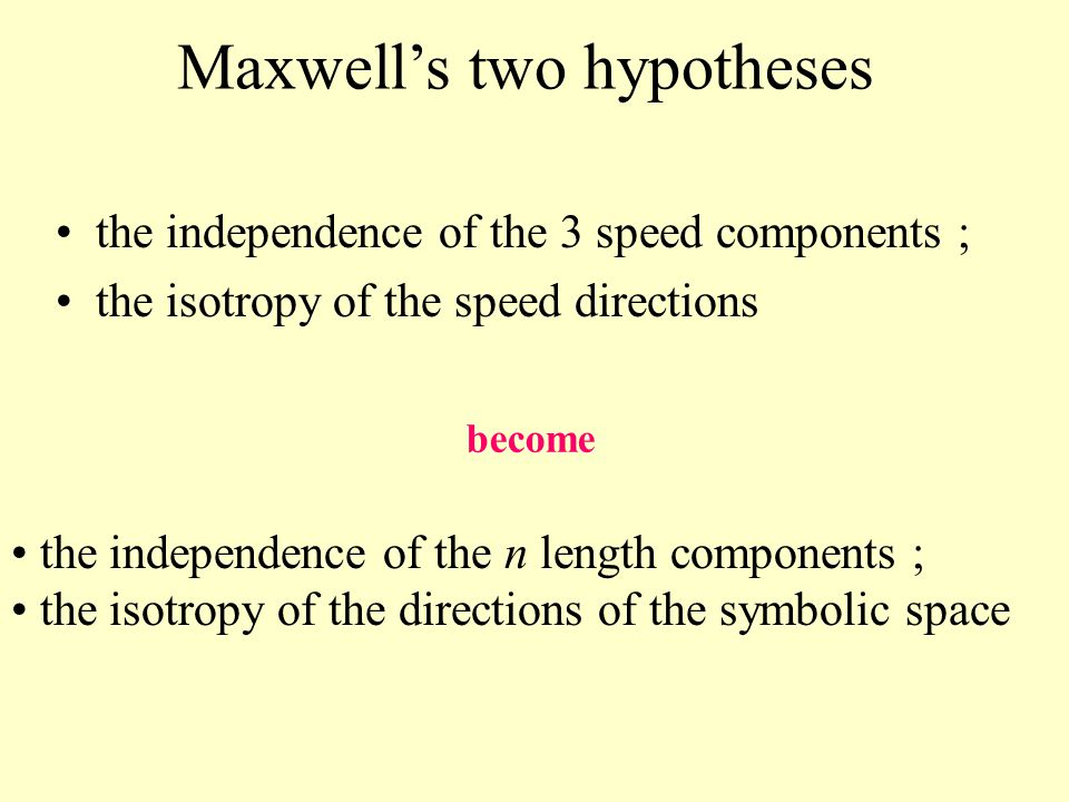 Maxwell's two hypotheses