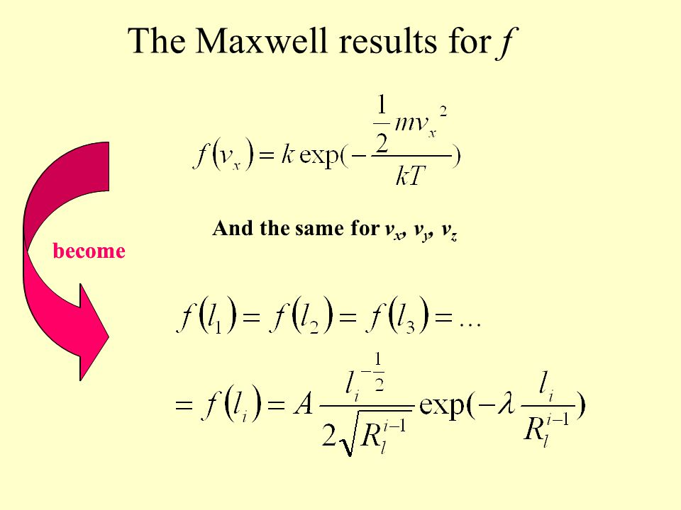 The Maxwell results for f