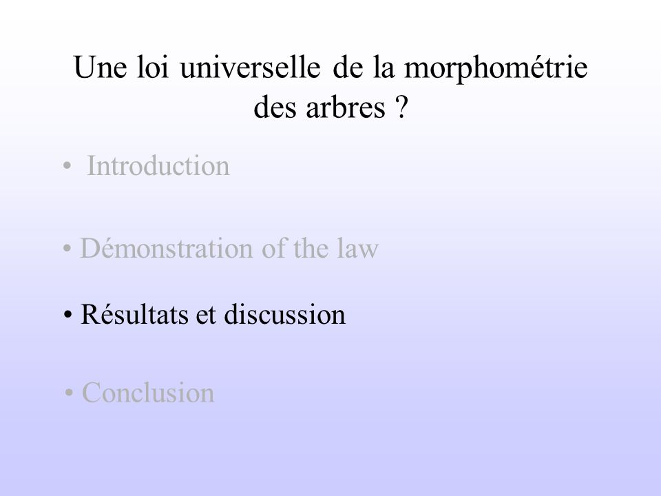Une loi universelle de la morphométrie des arbres