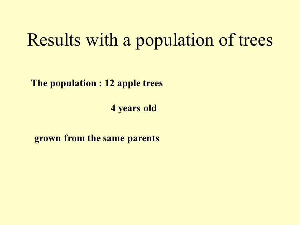 Results with a population of trees