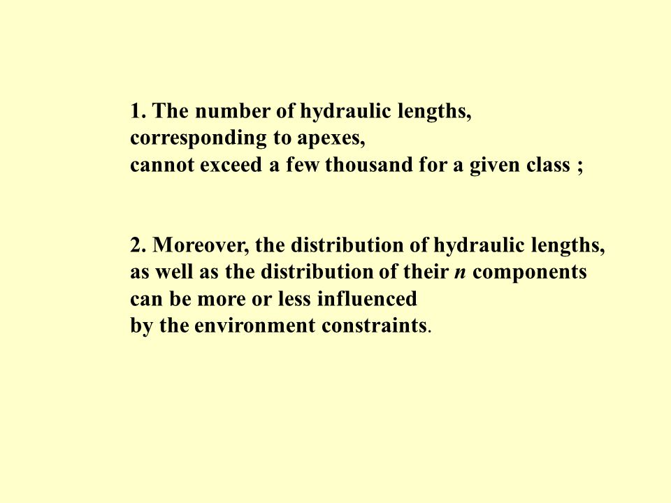 1. The number of hydraulic lengths,