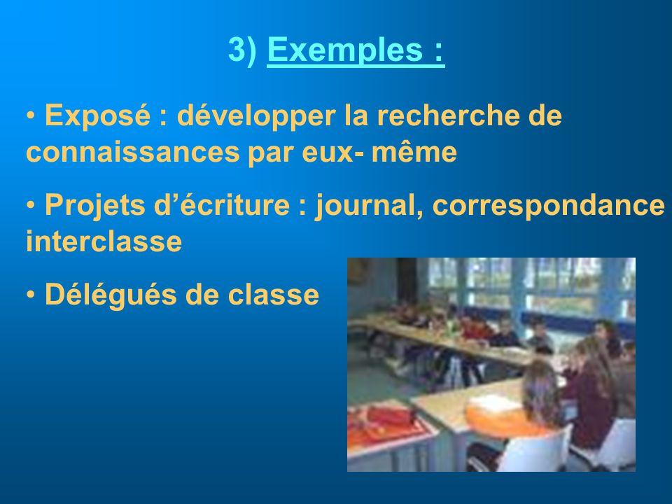 Exemples : Exposé : développer la recherche de connaissances par eux- même. Projets d'écriture : journal, correspondance interclasse.