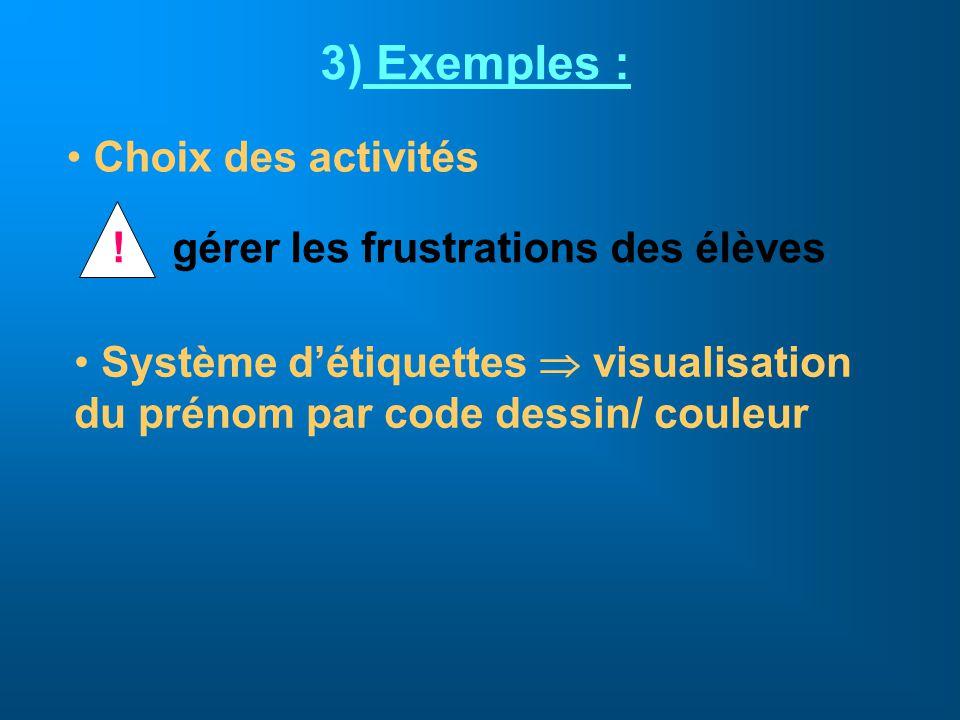 Exemples : Choix des activités ! gérer les frustrations des élèves