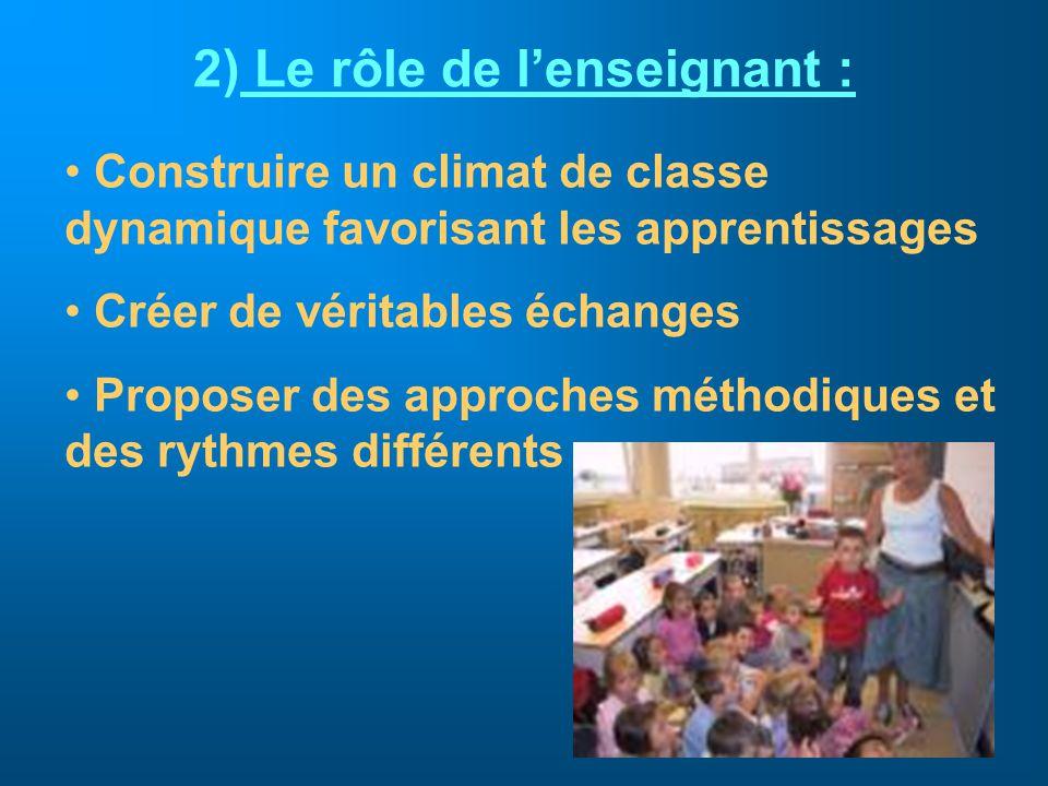 Le rôle de l'enseignant :