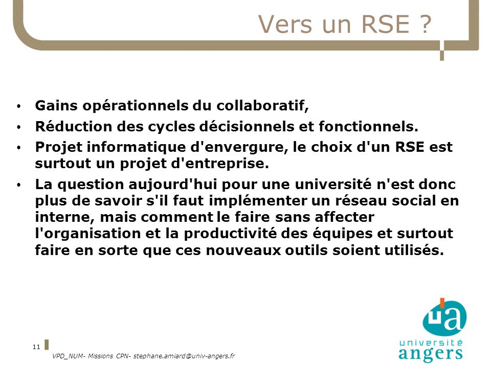 Vers un RSE Gains opérationnels du collaboratif,