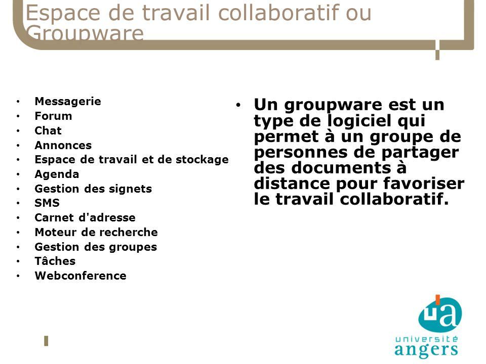 Espace de travail collaboratif ou Groupware