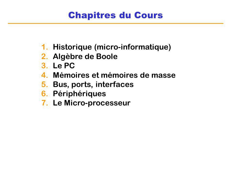 Chapitres du Cours Historique (micro-informatique) Algèbre de Boole